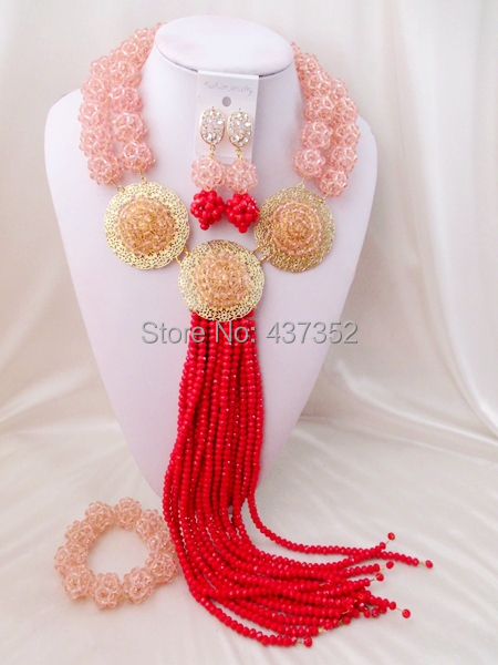 Luxury Peach Opaque Red crystal necklaces costume jewellry nigerian wedding african beads jewelry set ABC376<br>
