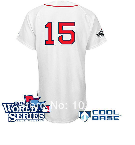Good Quality Hot Sale , Cheap Boston Red Sox Baseball Jersey #15 Dustin Pedroia Cool Base Jersey w/2013 World Series Patch,Embro(China (Mainland))