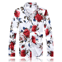 2016 new autumn high quality plus size 3XL 4XL 5XL rose shape floral print shirts men fashion shirts(China (Mainland))