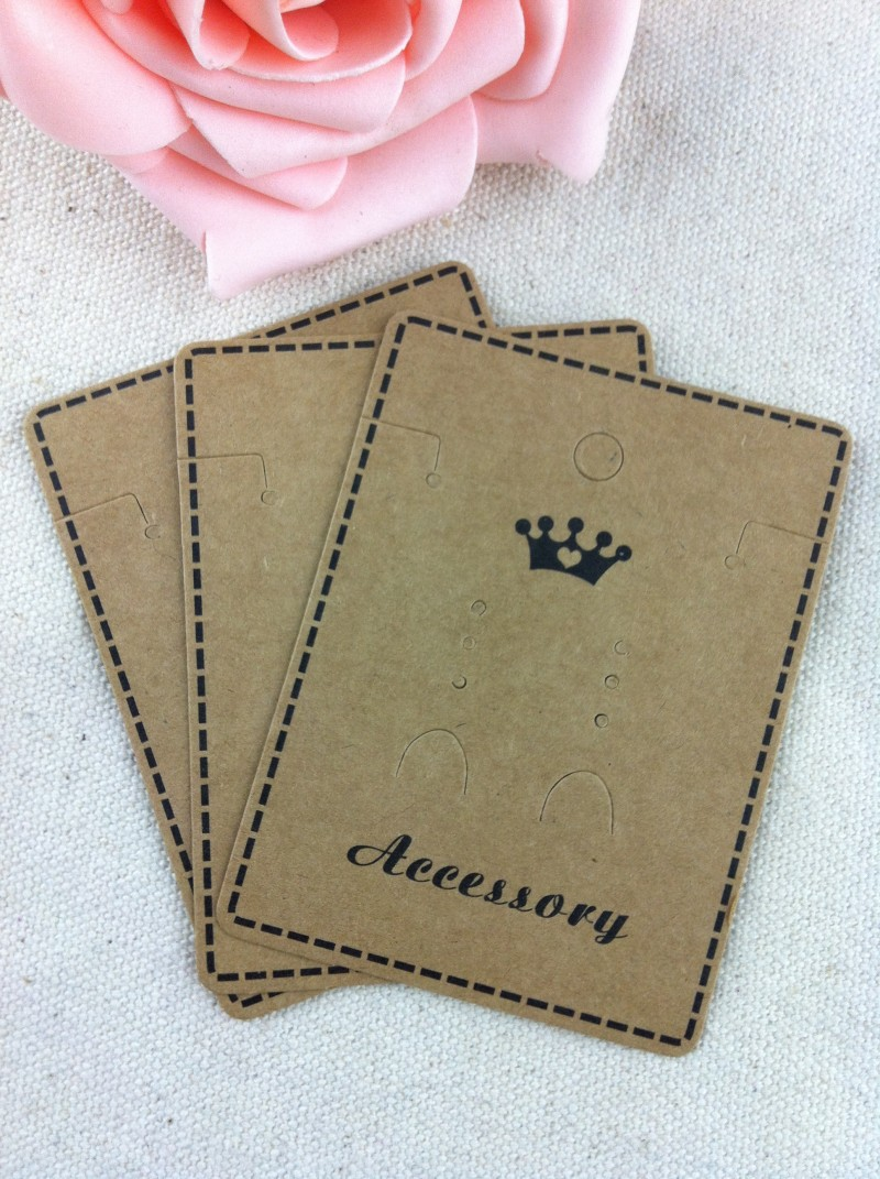 Wholesale 200pcs/lot Brown Paper Crown Custom Jewelry/Earring/Necklace Packaging Jewelry Setting Display Cards For Free Shipping(China (Mainland))