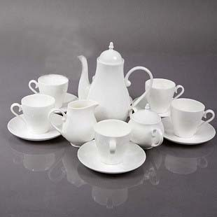 Delicate pure white color bone china tea set 15 pieces European style Coffee cup and saucer