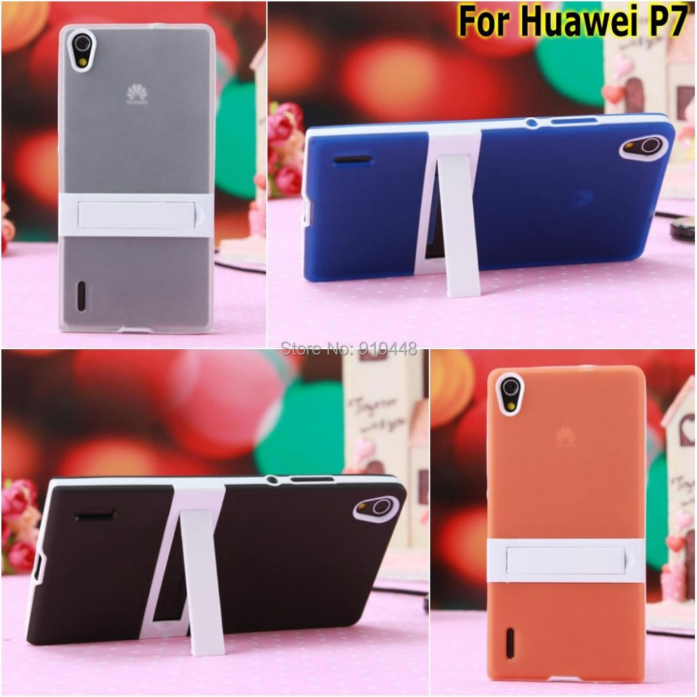 Fashion 2 1 Candy Color soft silicone tpu gel Cover Case Hard Plastic stand Holder Huawei ascend P7 - E-Credible Technology Co.,Ltd. store