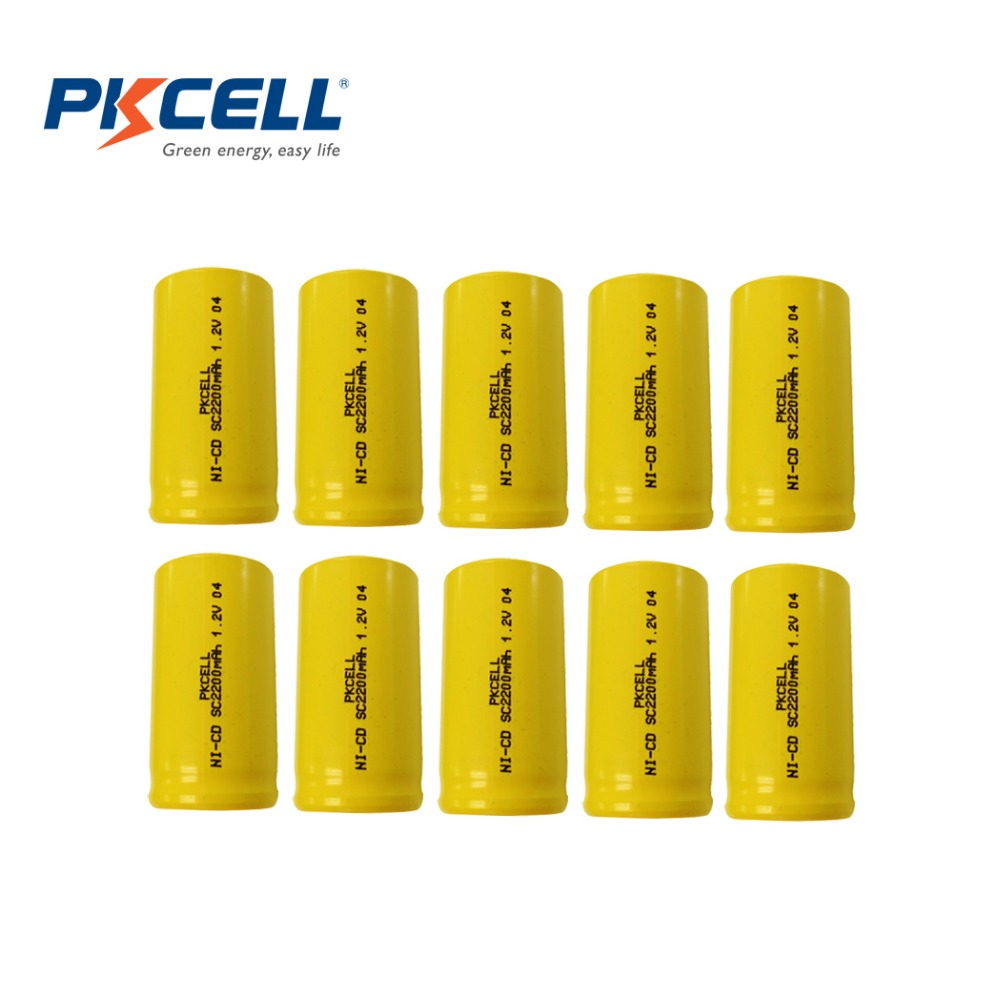 10 X PKCELL NI-CD 1.2V 2200mAh SC Rechargeable Battery for Electric drill etc Electric<br><br>Aliexpress
