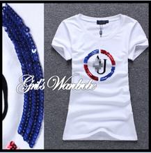 2015 Summer Fashion Brand Women Letters Rhinestone t shirt short sleeve casual cotton tops t-shirt tshirt women clothing blusas(China (Mainland))