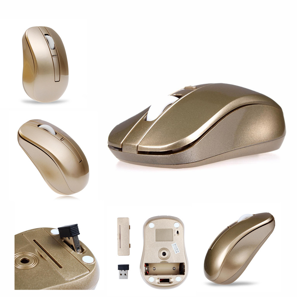 2.4G Wireless Gaming Mouse 1600DPI Wifi Mice for Laptop PC Computer Gamer with usb Receiver Gold New Arrival(China (Mainland))