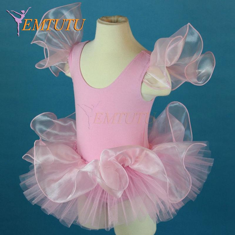 Pink Ballet Dress Dance Costume Child, Cotton Lycra Leotard With Tutu For Kids, Toddler Leotard Tutu Girls Cute Dancewear(China (Mainland))