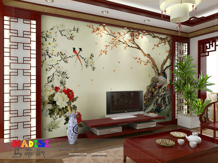 Free shipping mural wallpaper tv wall sofa chinese style for Chinese wallpaper mural