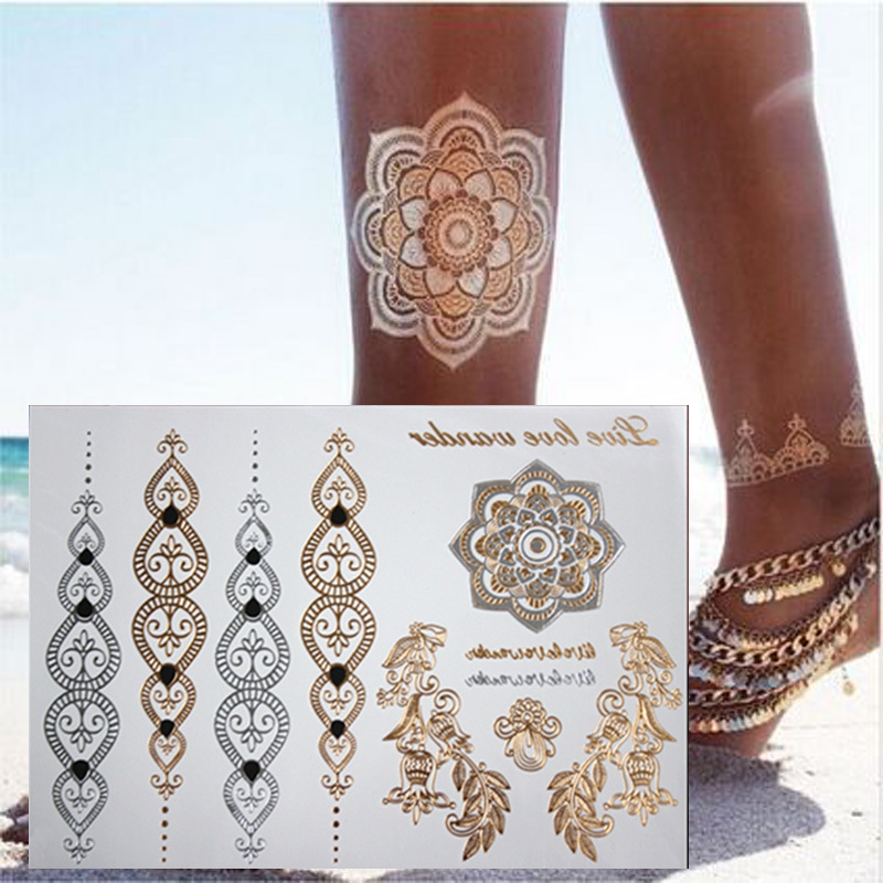 NEW HOT body art painting tattoo stickers glitter Metal gold silver temporary flash tattoo Disposable indians tattoos tatoo(China (Mainland))