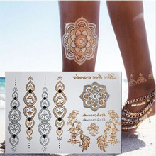 NEW HOT body art painting tattoo stickers glitter Metal gold silver temporary flash tattoo Disposable indians tattoos tatoo