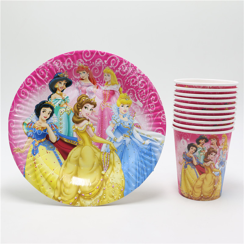 20pcs New Style Princess Cartoon Disposable Paper Cups/glass + Plates Kids Girls Birthday Favors Party Decoration Supplies Set(China (Mainland))