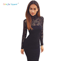 Turtleneck Long Sleeve Lace patchwork Sexy Club Bandage Dresses 2016 Autumn Women Elastic Elegant Party Dress