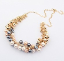 2014 New !!! Hot Wild High Quality Luxury Multiple Layer Pearl Necklace For Women Chunky Statement Fashion Jewelry 336