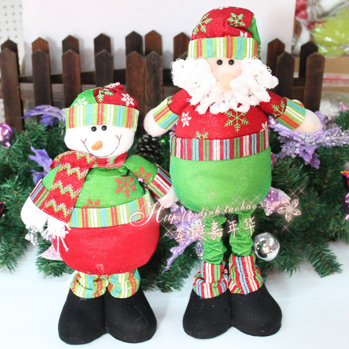 2015 Real Decoracion Navidad Enfeites De Natal 1pcs/lot 70cm New Santa Claus Gift Cloth Telescopic Old Snowman Decorations Natal(China (Mainland))