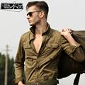 Высокое качество мужская свободного покроя с длинными рукавами брюки-карго Большой размер военная форма свободную рубашку мужские хлопок-ватник армии рубашки A010