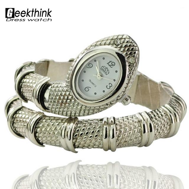 Новые модные женщины дамы змея в форме браслет украшения кварцевый механизм наручные часы - серебро Relogio Feminino