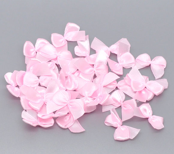 200PCs Pink Mini Ribbons Bow Knot Wedding Party Decoration Scrapbooking Embellishment Craft DIY Sewing Accessories 25x20mm