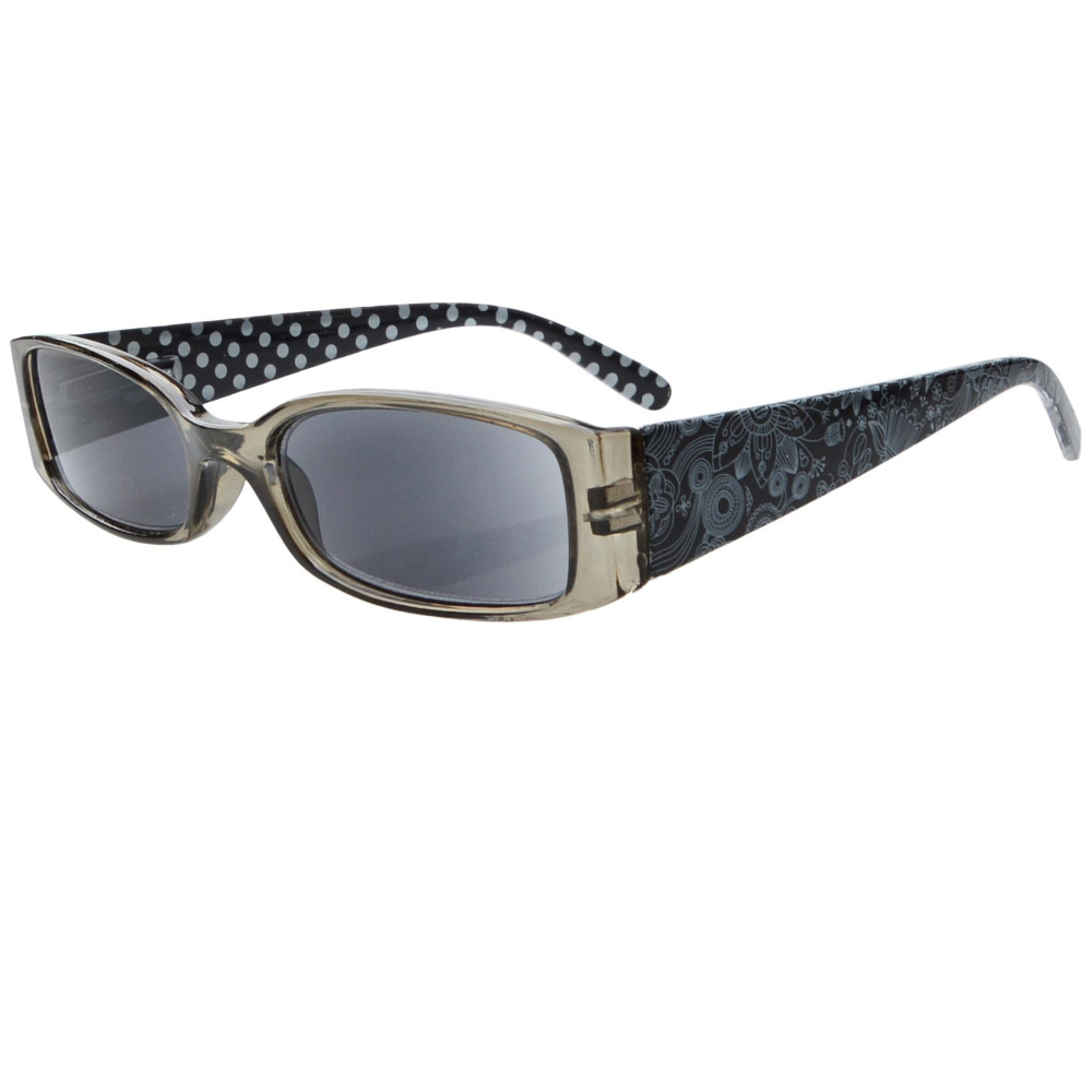 r040p gray lens polka dots patterned temples reading