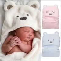 newborn baby blanket baby coral fleece holds child autumn and winter  infant hooded bath towel sleeping bags boy&girl carriage