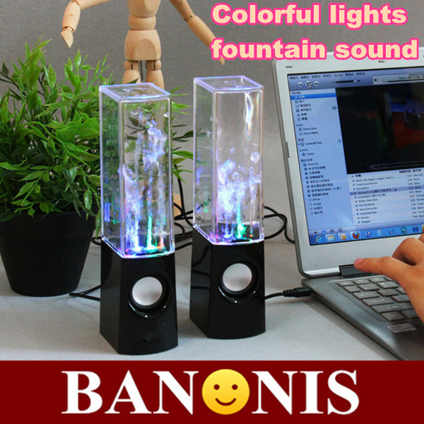 3.5-channel sound colorful lights fountain, fountain water column mobile computer speakers, music player, 5.1*6.3*22cm(China (Mainland))