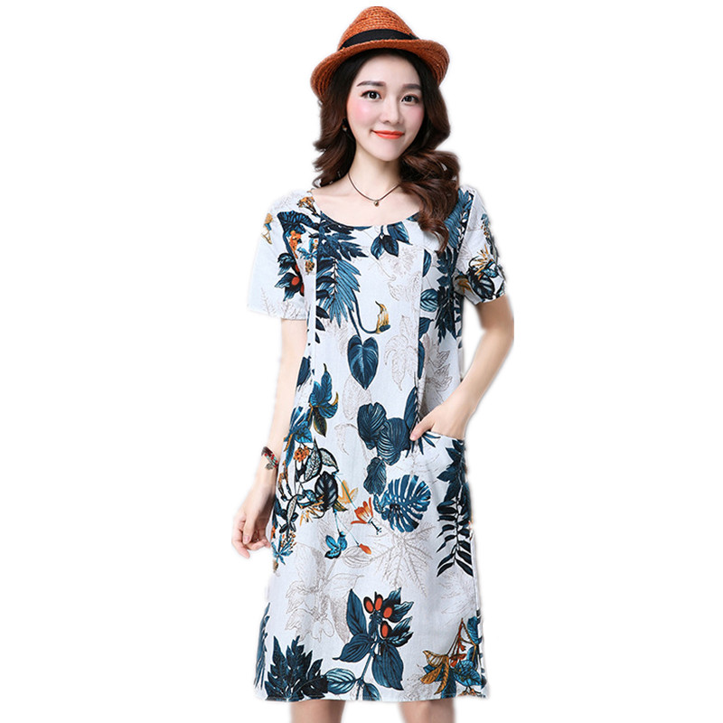 New School Casual Cotton And Linen Fabric Women Short Sleeve O Neck Dress Loose Colors Plaid Print Short Dresses 2016(China (Mainland))