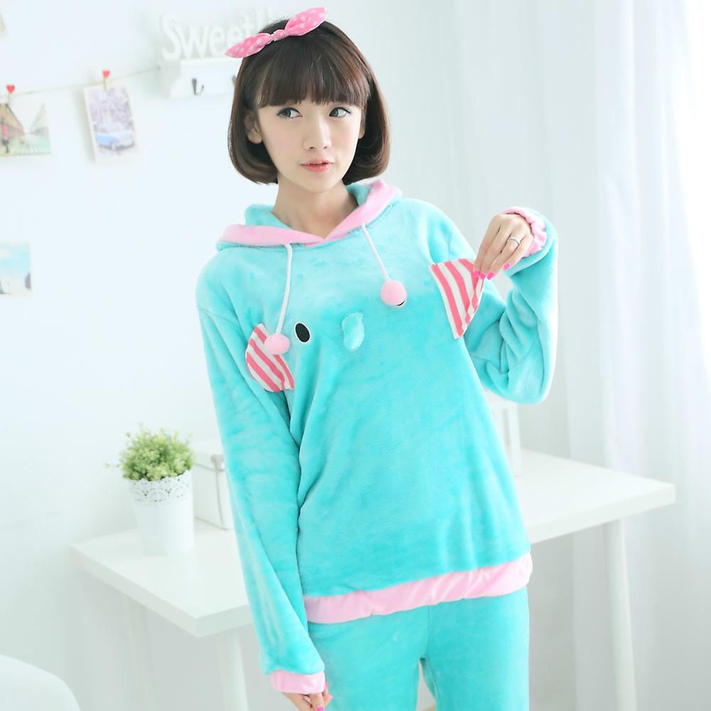 Mink hooded long-sleeved flannel couples pajamas elephant cartoon upset princess suit men women - eight store