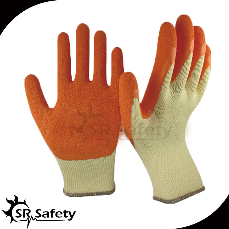 Free Shipping !!! SRSAFETY  Knit Glove with Textured Latex Coating Gripping Gloves Yellow/Orange<br><br>Aliexpress