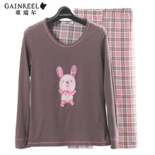 Spring song Riel cute bunny cartoon couple long sleeved pajamas thin section of men and women