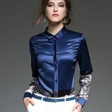 Buy 2016 Autumn winter long sleeve print shirt women elegant office satin blouse silk top satin shirts women work wear OL shirts for $19.88 in AliExpress store