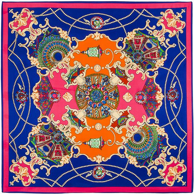 100 см * 100 см 100% Twill Шелковый Евро Бренд Французский дизайн небо Хофгартен дворцовый сад Отпечатано Женщины Площади шелковые Шарфы B101