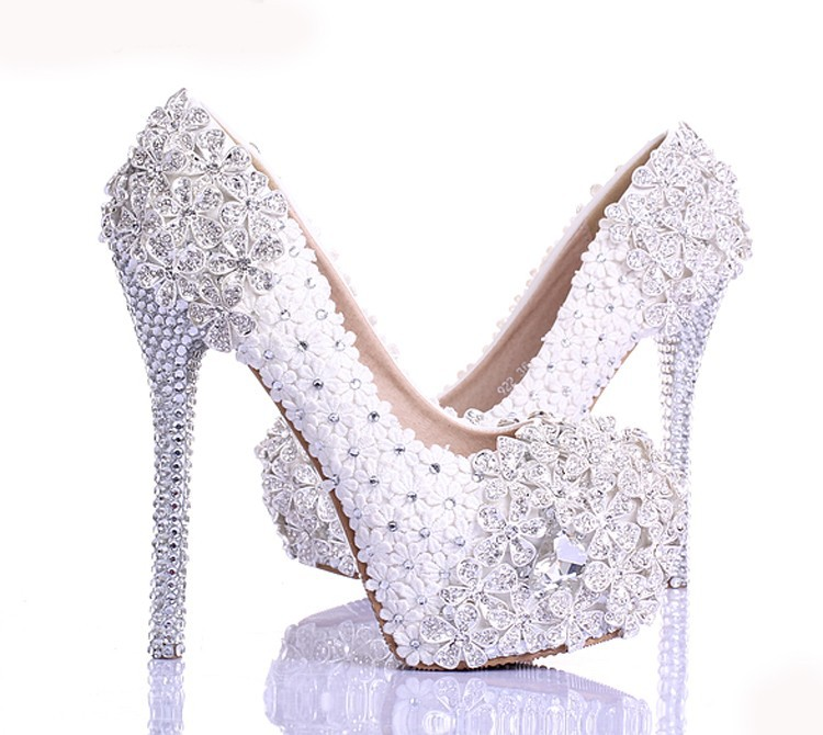 Spring White Lace Flower Rhinestone Wedding Shoes 2015 Newest Design Luxury Handmade High Heel Bridal Shoes Evening Prom Pumps
