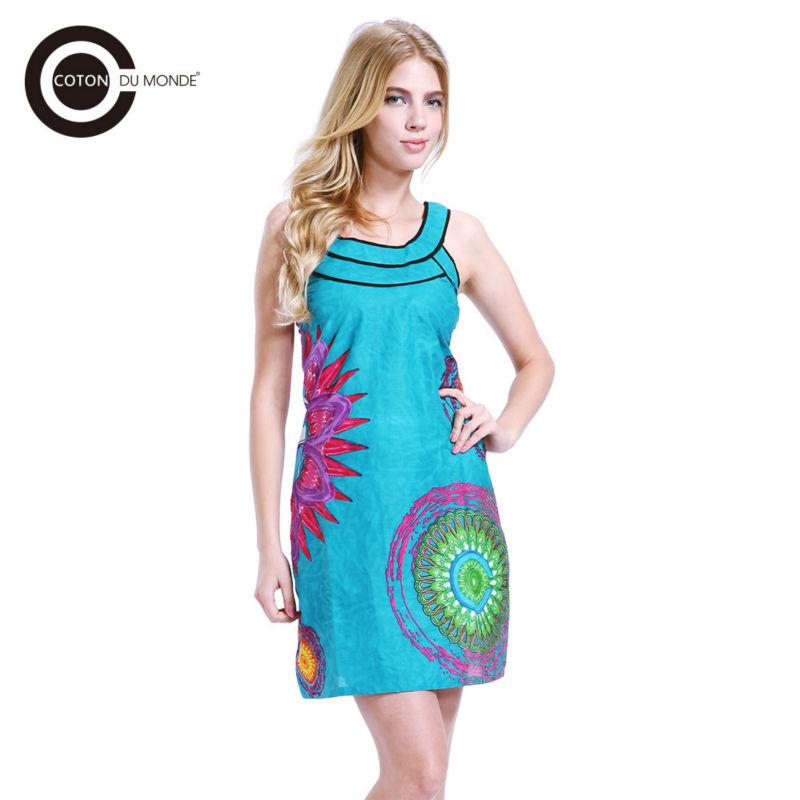 2016 Hot Fashion Flower Dress Ethnic India Summer Beach Dress 100% Knitting Cotton Women's Dress / WANDA(China (Mainland))