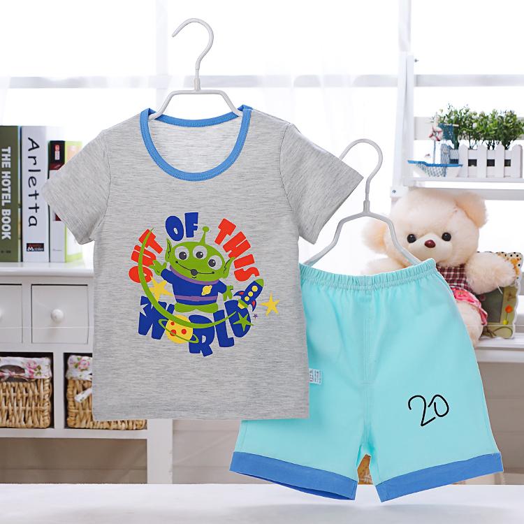 2017 shirt summer baby kids children unisex boys girl short T shirt pants set sports soft clothing set fashion school clothing(China (Mainland))