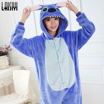 LAISIYI lilo stitch onesie Unisex Adult warm fleece pajamas for women pajama set warm animal pajamas one piece femme SL0002
