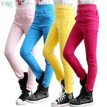 2016 spring girls casual pants candy color jeans for girls children's cotton stretch trousers teenager monster hight clothes