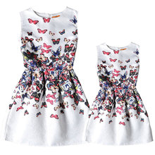 New 2016 Family Matching Clothing Dresses For Girls And Mother European style Girl Dress Family Matching Mother Daughter Clothes