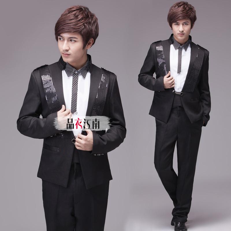 Men's black sequined dress and groom groomsman wedding singer MC stage dance performance clothing(China (Mainland))