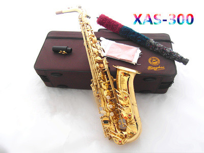 Big promotion Mp3 xas-300 saxe Imported leather pad Natural pearl button Electrophoretic gold E Alto Saxophone professional(China (Mainland))