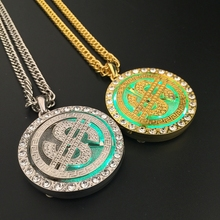 Mens Jewlery Iced Out Hip Hop Led Money $ Pendant Blings Rotate USD Dollar Charm Gold Chain Necklace Alloy Hipsters Gift(China (Mainland))