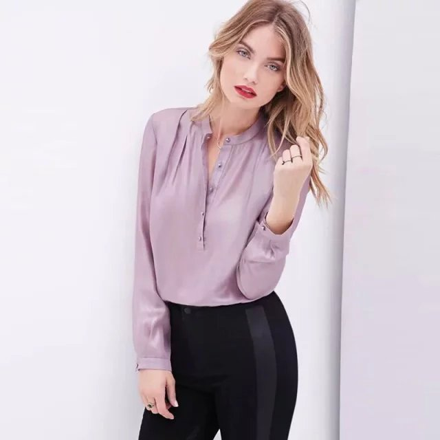 LJ05 Fashion 2015 Women solid silk look satin blouses Work vintage long sleeve office lady shirts casual brand tops blusas(China (Mainland))