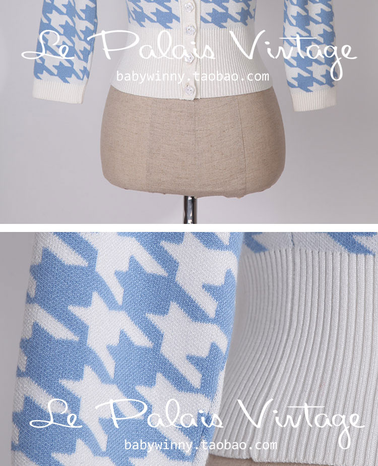 FREE SHIPPING Le Palais Vintage New Autumn Winter Blue White Houndstooth Bow Slim Three Quarter Puff Sleeve Sweater Cardigan