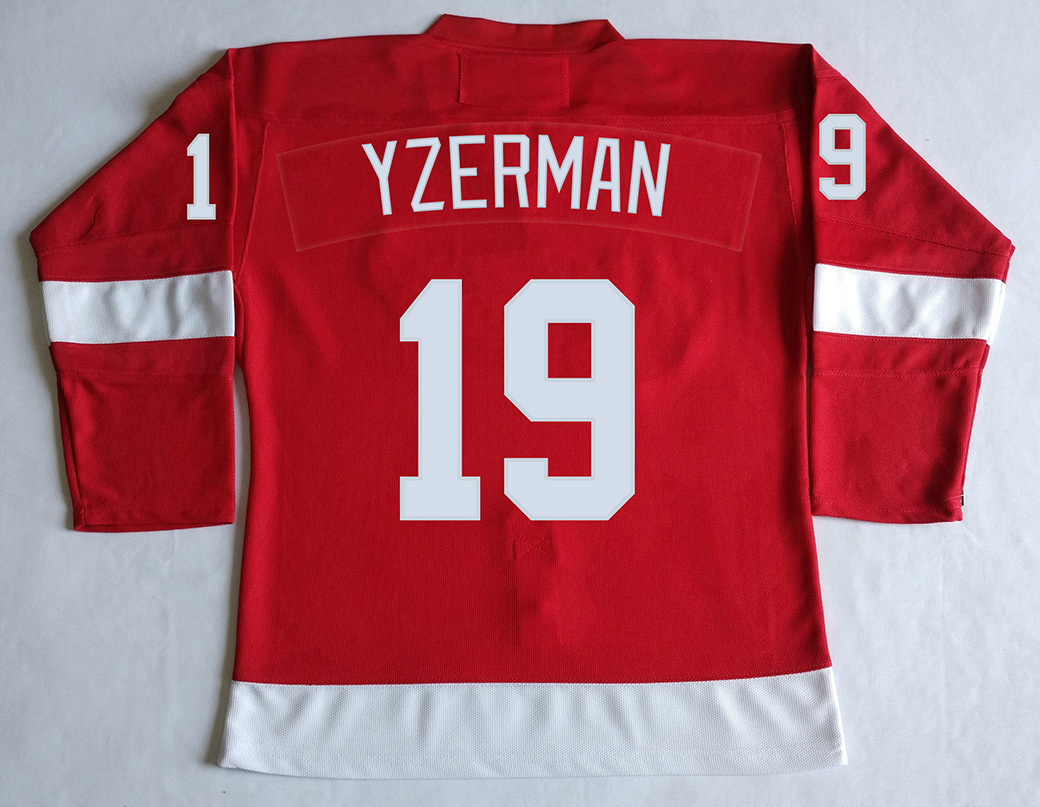 "DET #19 Steve Yzerman ""C"" Jersey Red,White Stitched Jerseys Long sleeve(China (Mainland))"