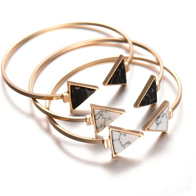 2016 новое золото-тон панк модный белый черный треугольник искусственные Marbleized ...