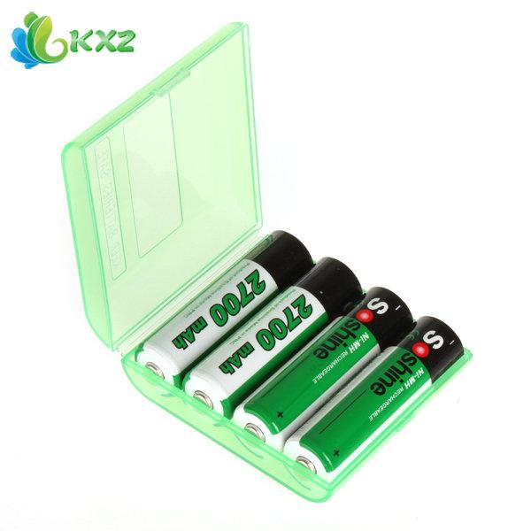 4pcs Soshine 2700mAh 1.2V AA Battery NiMH Ni-MH Rechargeable Battery for LED Flashlight + Portable Battery Case Storage Box(China (Mainland))