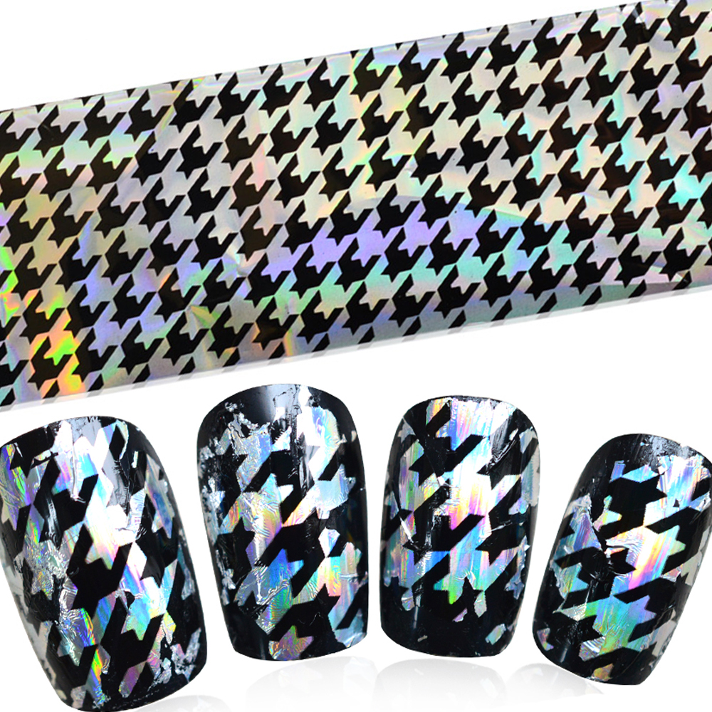 100cmx4cm Laser Glitter Shine Houndstooth Full Patch Nail Art Transfer Foils Sticker Tips DIY Decorations Easy STZXK37(China (Mainland))