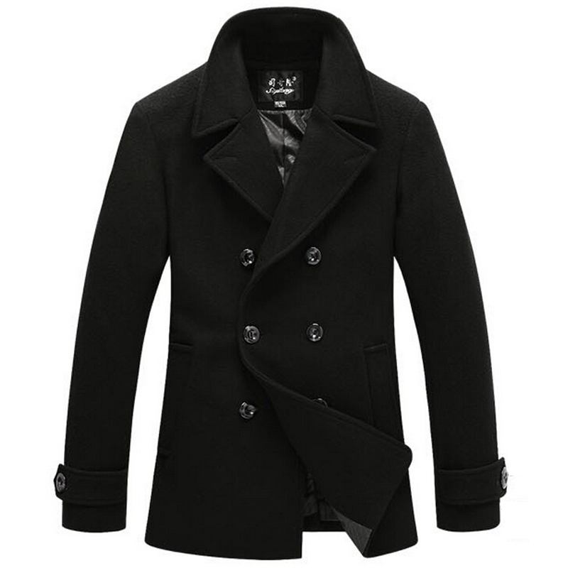Mens Black Pea Coat Jackets