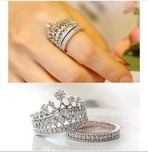 2015 New Fashion Crystal Rhinestone Crown Ring For Women Cute Elegant Luxury CZ Diamond Party Engagement Party Ring Wholesale