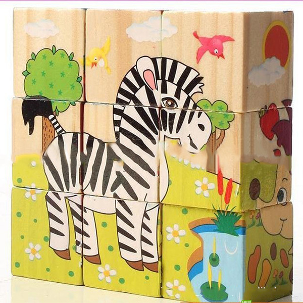 HOT Funny Baby Puzzles Wooden Toy 3D Cartoon Puzzle Jigsaw Toys Developmental Toy Gifts(China (Mainland))