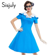 Buy Sisjuly vintage dress 1950s style spring blue pin short sleeve lapel women party dress summer elegant bow vintage dresses for $14.99 in AliExpress store