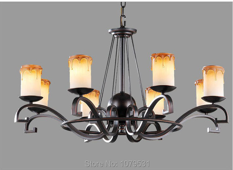 6,8 Arms Europe Style Ikea contracted Glass Lampshade Brown Candle E27 Pedant Lamp Light Candle Metal Suspension Light Fixture(China (Mainland))