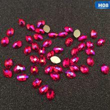 5 pièces paillettes rouge AB cristal Flatback ongles strass gemmes bricolage 3D coeur ovale Marquise losange diamant pierres Nail Art décoration(China)